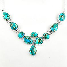 39.48cts blue copper turquoise 925 sterling silver necklace jewelry p93737