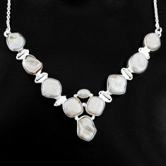 925 sterling silver 53.67cts natural white pearl necklace jewelry p93738