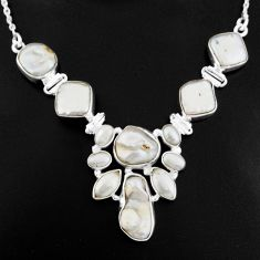 47.69cts natural white pearl 925 sterling silver necklace jewelry p93739