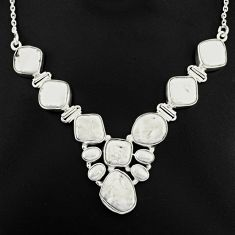 925 sterling silver 52.58cts natural white pearl fancy necklace jewelry p93740
