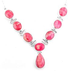 35.83cts natural pink rhodochrosite inca rose pear 925 silver necklace p93741