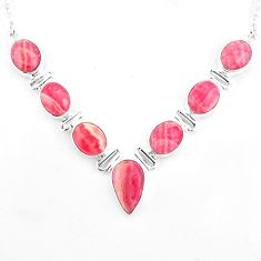 32.57cts natural pink rhodochrosite inca rose 925 silver necklace jewelry p93742