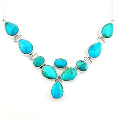 43.45cts blue arizona mohave turquoise 925 sterling silver necklace p93749