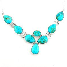 925 sterling silver 37.40cts blue arizona mohave turquoise necklace p93750