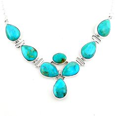 37.40cts blue arizona mohave turquoise 925 sterling silver necklace p93751