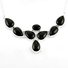 925 sterling silver 34.89cts natural black onyx pear necklace jewelry p93752
