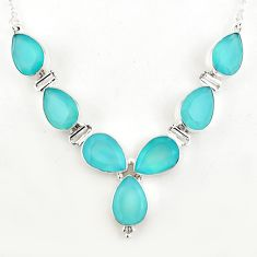 45.29cts natural aqua chalcedony 925 sterling silver necklace jewelry p93757