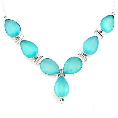 44.30cts natural aqua chalcedony 925 sterling silver necklace jewelry p93758