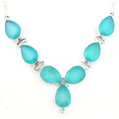 925 sterling silver 43.77cts natural aqua chalcedony pear necklace p93759