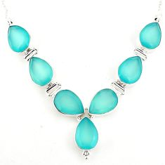 45.75cts natural aqua chalcedony 925 sterling silver necklace jewelry p93760