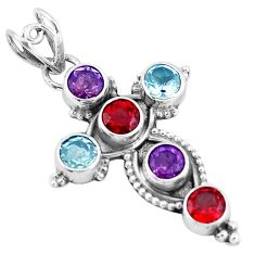 5.87cts natural red garnet topaz 925 sterling silver holy cross pendant p10113