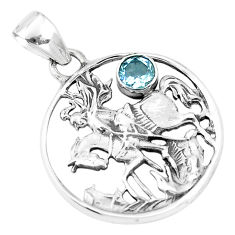 1.05cts natural blue topaz 925 sterling silver horse pendant jewelry p10245