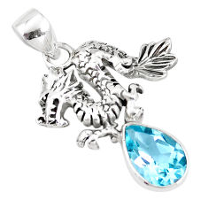 4.21cts natural blue topaz 925 sterling silver dragon pendant jewelry p10261