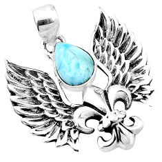 925 silver 3.16cts natural blue larimar feather charm pendant jewelry p10270
