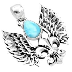 3.16cts natural blue larimar 925 silver feather charm pendant jewelry p10272