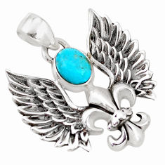 1.88cts green arizona mohave turquoise 925 silver feather charm pendant p10286