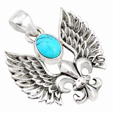 2.01cts green arizona mohave turquoise 925 silver feather charm pendant p10289