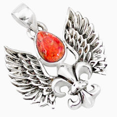 1.94cts red copper turquoise 925 silver feather charm pendant jewelry p10296