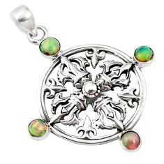 2.19cts natural multi color ethiopian opal 925 sterling silver pendant p10298