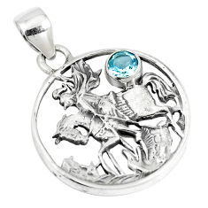 1.00cts natural blue topaz 925 sterling silver horse pendant jewelry p10329