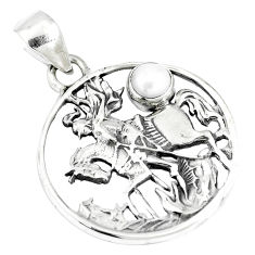 0.98cts natural white pearl 925 sterling silver horse pendant jewelry p10339