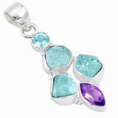 925 silver 12.07cts natural aqua aquamarine rough amethyst topaz pendant p10503