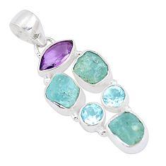 12.31cts natural aqua aquamarine rough amethyst topaz 925 silver pendant p10514