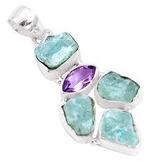 15.76cts natural aqua aquamarine rough amethyst 925 silver pendant p10520