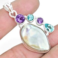925 sterling silver 23.11cts natural white pearl amethyst topaz pendant p10564
