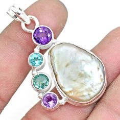 24.08cts natural white pearl amethyst topaz 925 sterling silver pendant p10567
