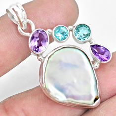 24.62cts natural white pearl amethyst topaz 925 sterling silver pendant p10568