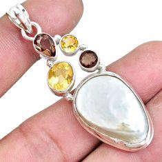 24.65cts natural white pearl smoky topaz citrine 925 silver pendant p10573