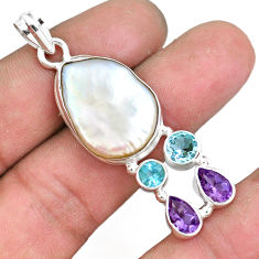 22.59cts natural white pearl amethyst topaz 925 sterling silver pendant p10576