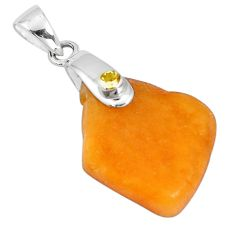 14.85cts natural yellow amber bone citrine 925 sterling silver pendant p10592