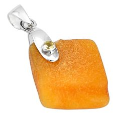 15.34cts natural yellow amber bone citrine 925 sterling silver pendant p10593
