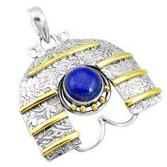 4.56cts victorian natural blue lapis lazuli 925 silver two tone pendant p10682