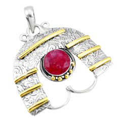 4.56cts victorian natural red ruby 925 sterling silver two tone pendant p10687