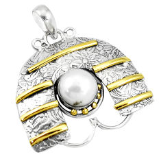 5.51cts victorian natural white pearl 925 silver two tone pendant p10689