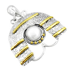925 silver 4.91cts victorian natural white pearl round two tone pendant p10691