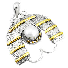 2.90cts victorian natural white pearl 925 silver two tone pendant p10692