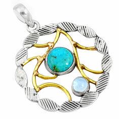 Victorian green arizona mohave turquoise 925 silver two tone pendant p10709