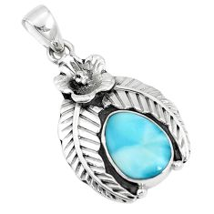 5.18cts natural blue larimar 925 sterling silver flower pendant jewelry p10784