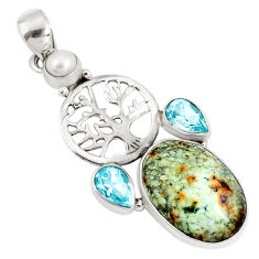 Natural green norwegian turquoise topaz 925 silver tree of life pendant p10801