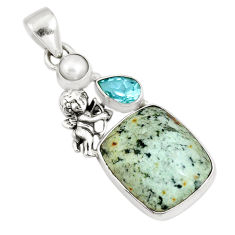 Natural green norwegian turquoise topaz silver cupid angel wings pendant p10808