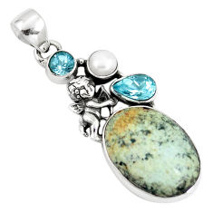 Natural green norwegian turquoise pearl silver cupid angel wings pendant p10809