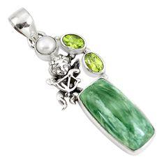 925 silver natural green seraphinite (russian) cupid angel wings pendant p10811