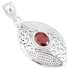 925 sterling silver 2.25cts natural red garnet oval shape pendant jewelry p11787