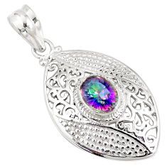 2.01cts multi color rainbow topaz 925 sterling silver pendant jewelry p11791