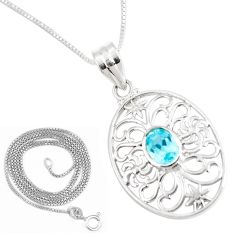 925 sterling silver 2.10cts natural blue topaz 18' chain pendant jewelry p11849