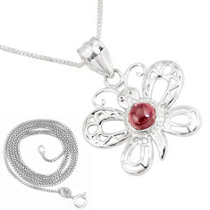 925 silver 1.12cts natural red garnet butterfly 18' chain pendant jewelry p11869